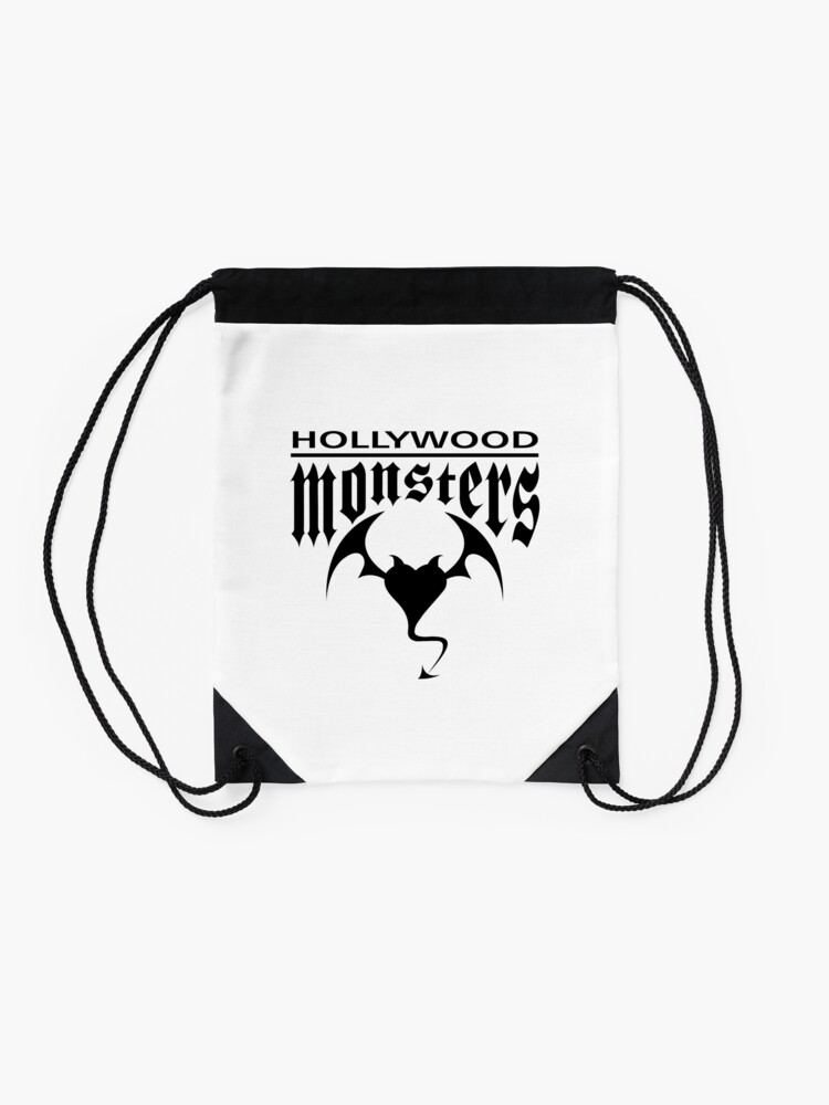 Alternate view of Hollywood Monsters Text Bat Logo - BLACK PRINT Drawstring Bag