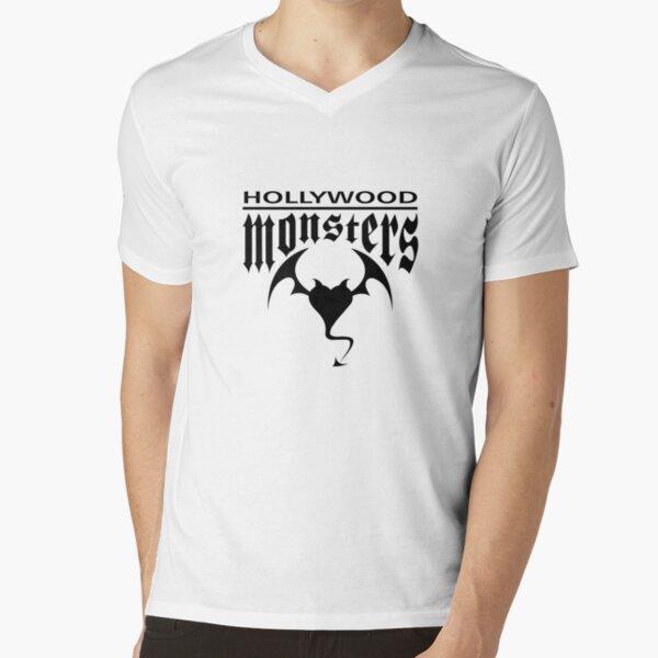 Hollywood Monsters Text Bat Logo - BLACK PRINT V-Neck T-Shirt
