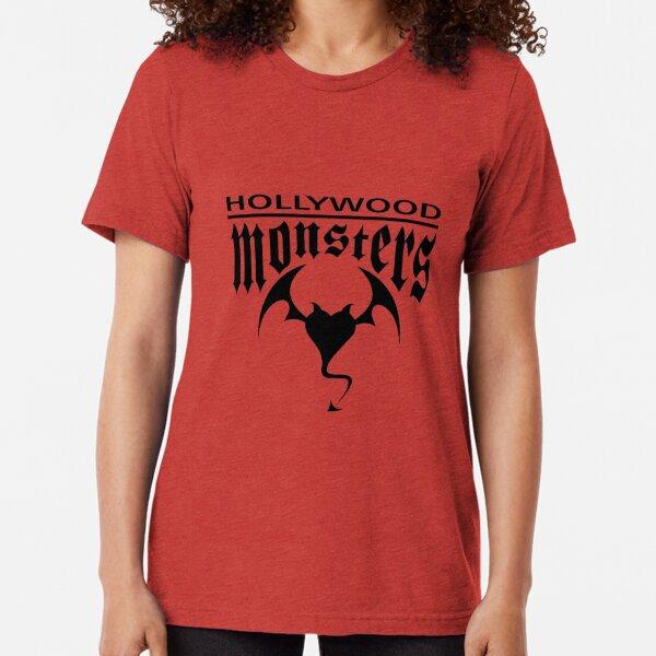 Hollywood Monsters Text Bat Logo - BLACK PRINT Tri-blend T-Shirt