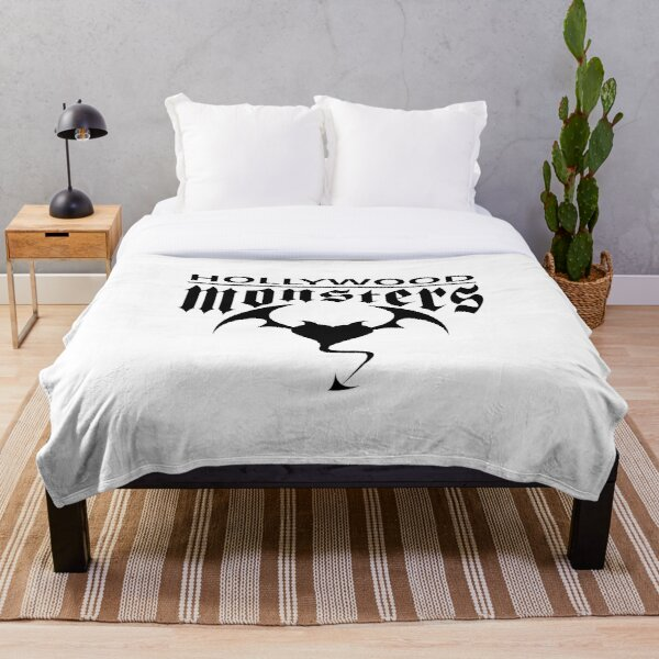 Hollywood Monsters Text Bat Logo - BLACK PRINT Throw Blanket