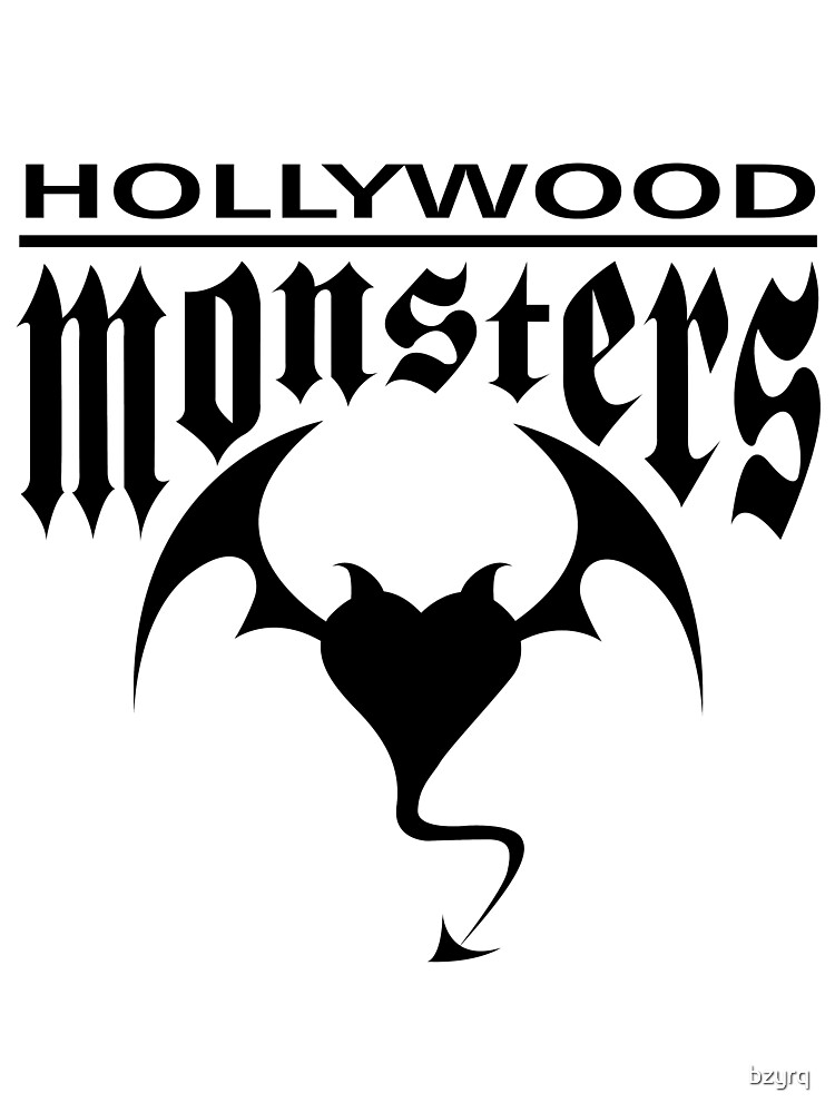 Hollywood Monsters Text Bat Logo - BLACK PRINT by bzyrq