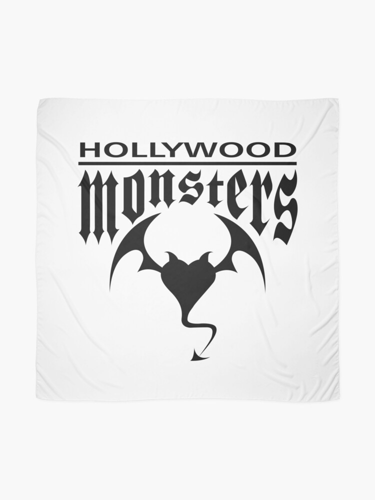 Alternate view of Hollywood Monsters Text Bat Logo - BLACK PRINT Scarf