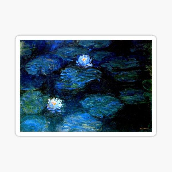 Water Lilies Monet deep blue Sticker