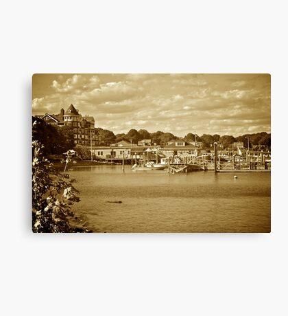 Jamestown Marina - Conanicut Island - Sepia Canvas Print
