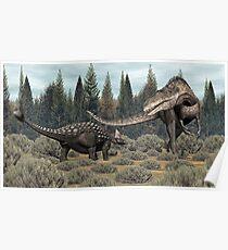 Ankylosaurus vs Acrocanthosaurus Poster
