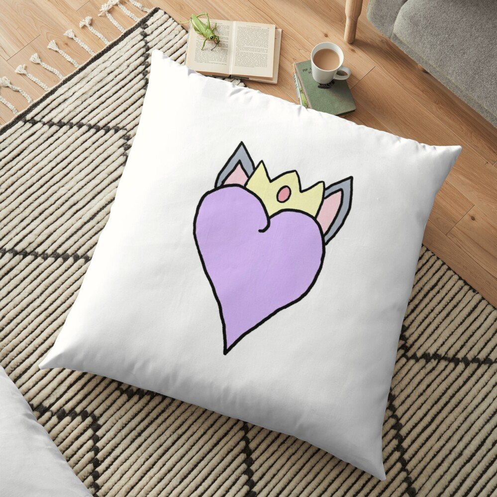 heart with cat ears and crown Floor Pillow