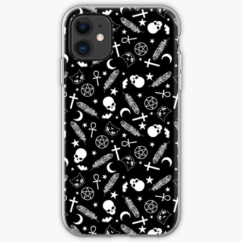 Spoopy | Halloween Witch Seamless Pattern | Black and White iPhone Case & Cover