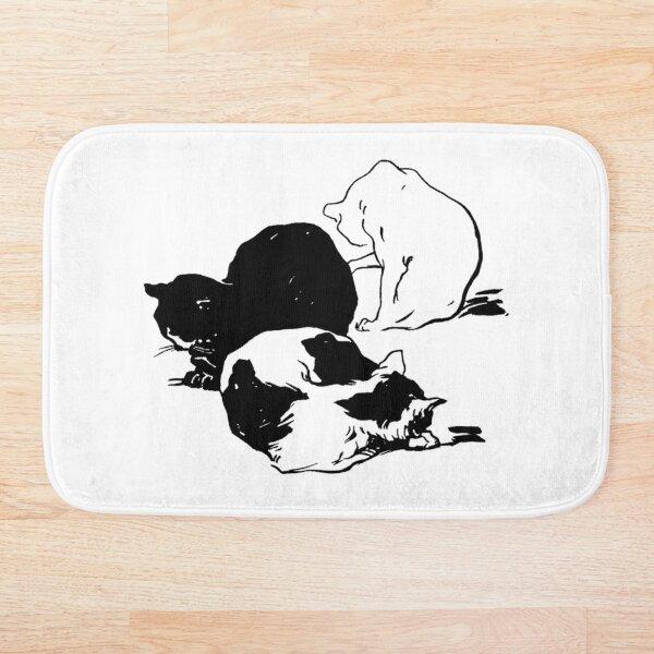 Sleepy Cats Art Nouveau Illustration Bath Mat