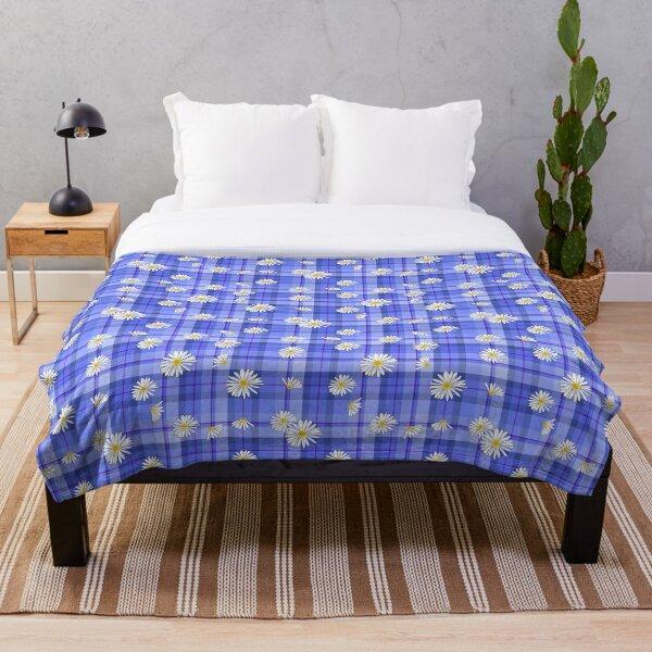 KiniArt Daisy Plaid Blues Throw Blanket
