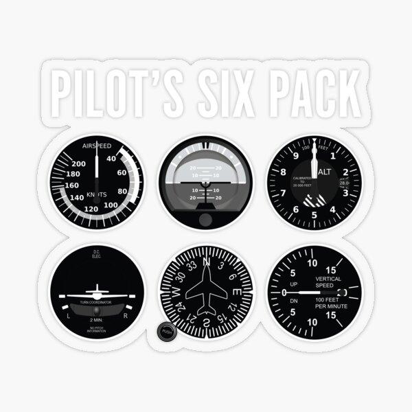 Pilts Six Pack Airplane Steam Gauges Transparent Sticker