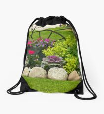 """Welcome Mat"" Garden Scene Drawstring Bag"