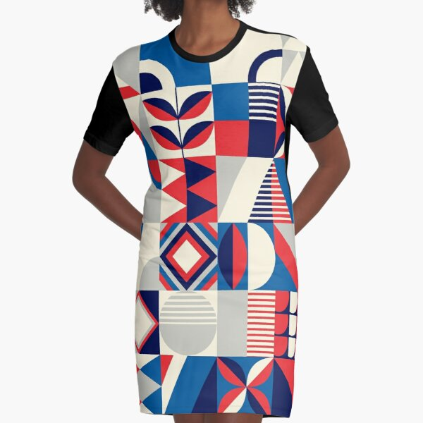Abstract Flower Pattern Red Blue White Graphic T-Shirt Dress