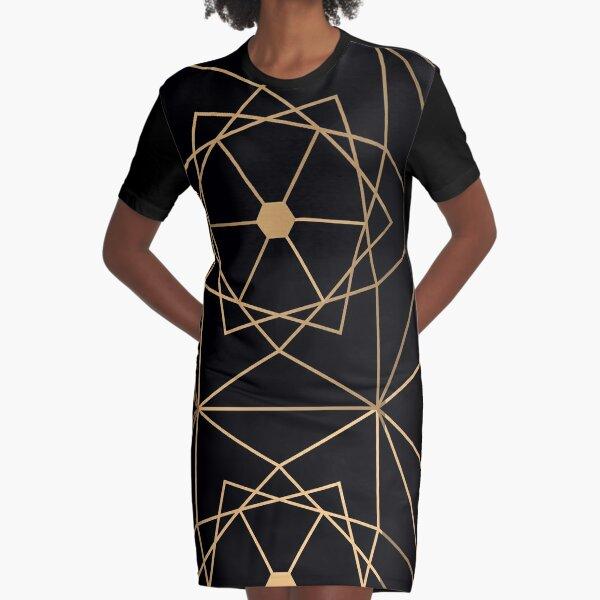 Golden Deluxe Geometric Pattern Graphic T-Shirt Dress