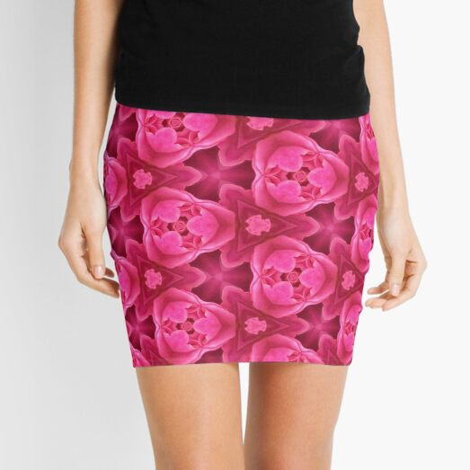 Hot Pink Abstract Rose Pattern Mini Skirt