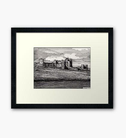 189 - ALNWICK CASTLE - DAVE EDWARDS - INK - 1991 Framed Print