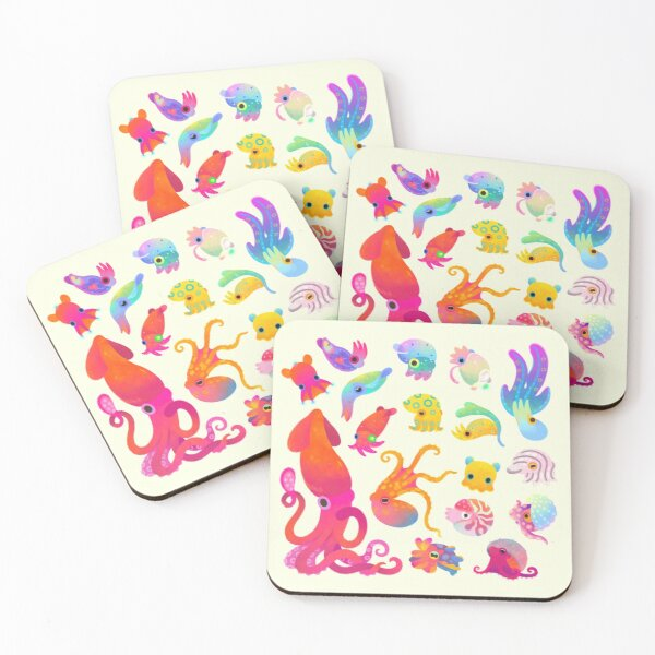 Cephalopod - pastel Coasters (Set of 4)