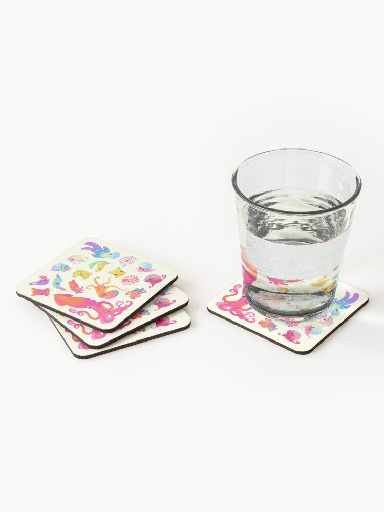 Alternate view of Cephalopod - pastel Coasters (Set of 4)