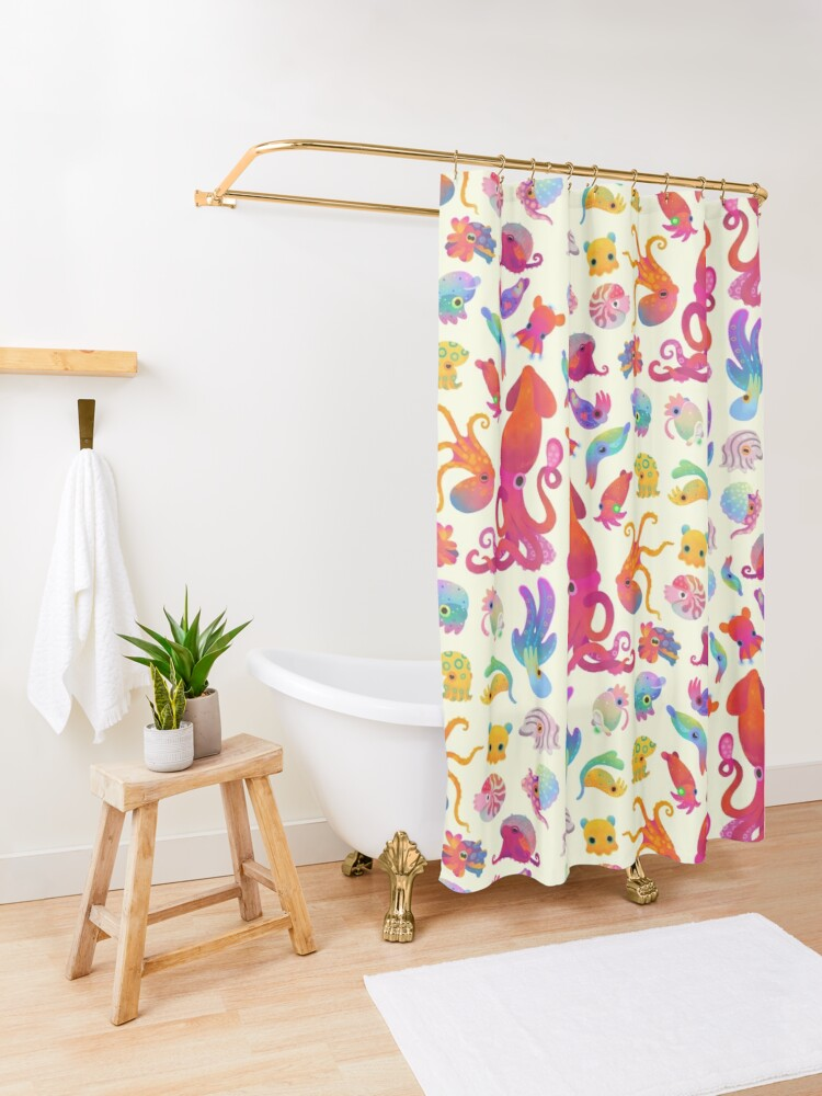 Alternate view of Cephalopod - pastel Shower Curtain