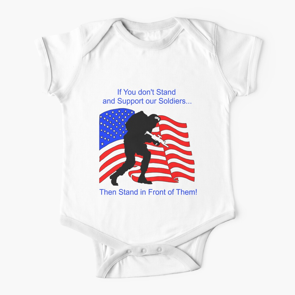 American Flag- Support our Troops 2 Baby One-Piece