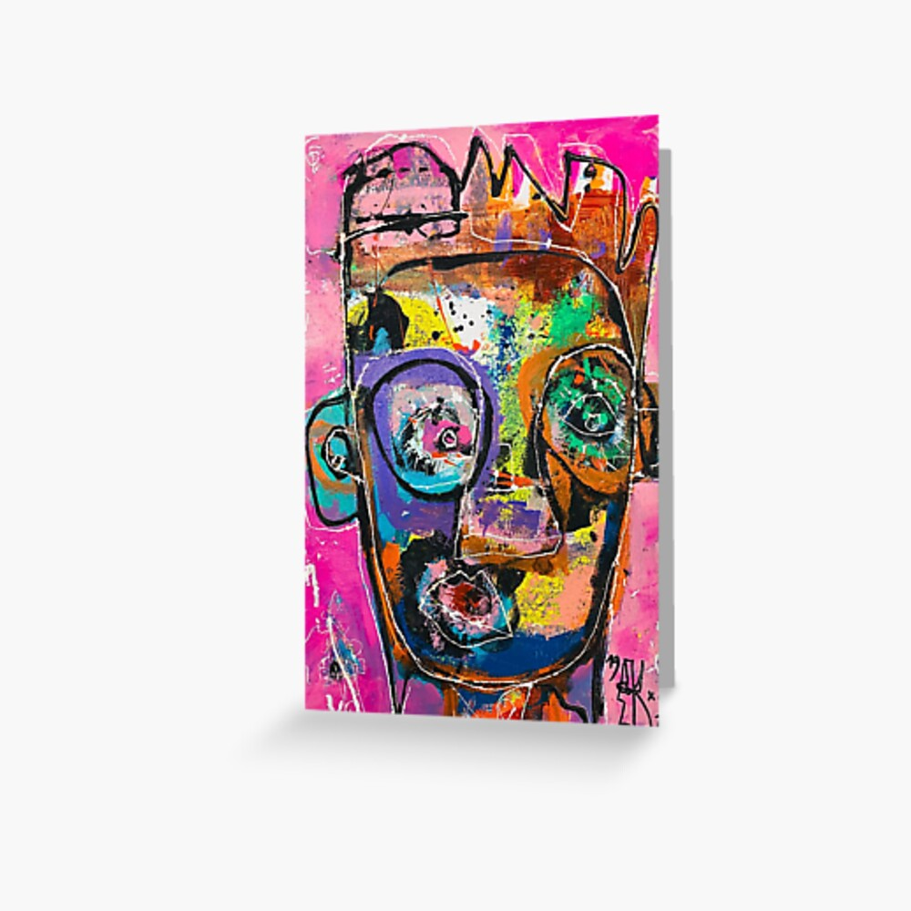 Neoexpressionism, art brut, spontaneous art, black and Colors, free figuration Greeting Card
