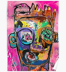 Neoexpressionism, art brut, spontaneous art, black and Colors, free figuration Poster