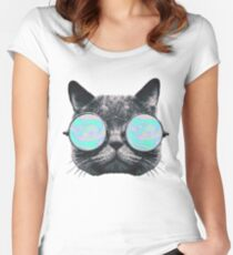 Cat Eye Hologram Women's Fitted Scoop T-Shirt
