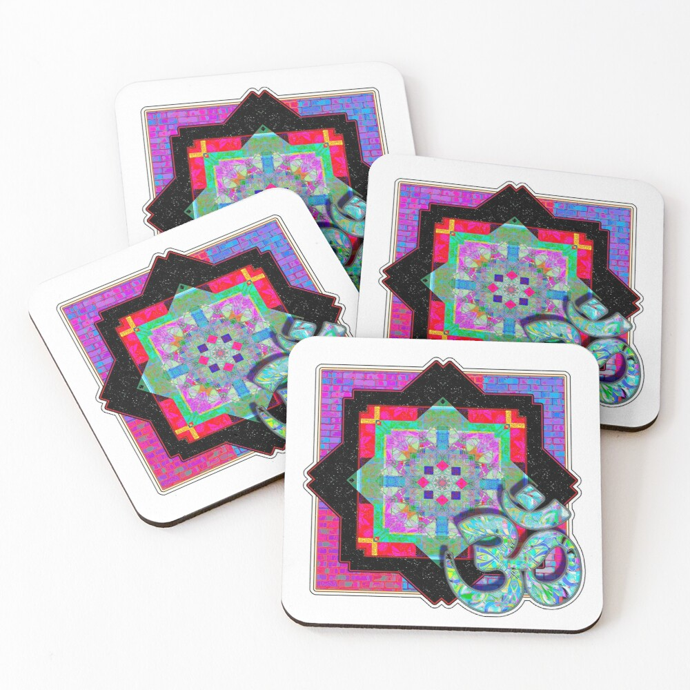 Loud Red And Black Om Coasters (Set of 4)