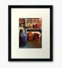 Medicine Bottles and Baskets Framed Print