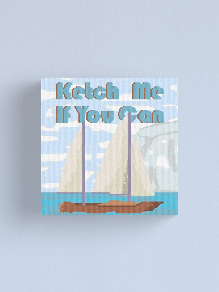 Alternate view of Ketch Me If You Can Nautical Sailing Cross Stitch. Canvas Print