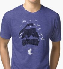 Tethered - wakeboarding pirate Tri-blend T-Shirt