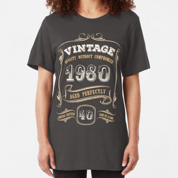 40th Birthday Gift Gold Vintage 1980 Aged Perfectly Slim Fit T-Shirt