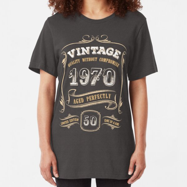 50th Birthday Gift Gold Vintage 1970 Aged Perfectly Slim Fit T-Shirt