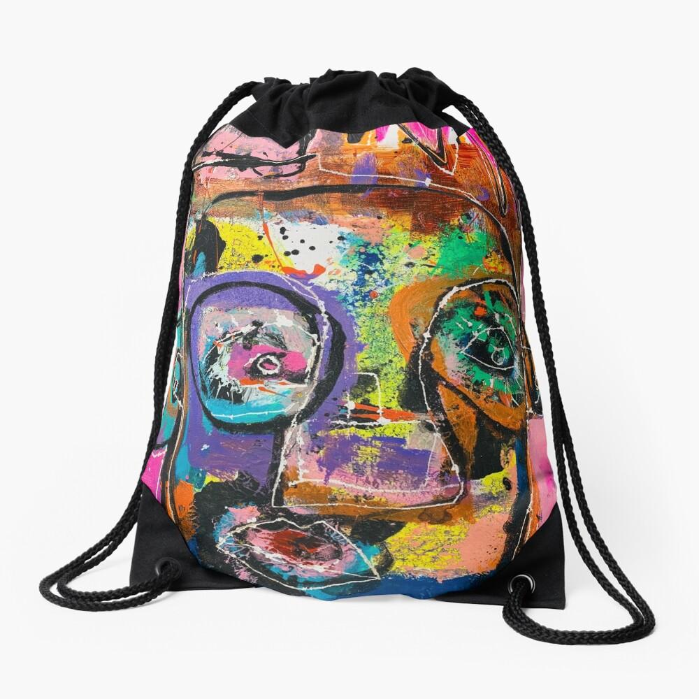 Neoexpressionism, art brut, spontaneous art, black and Colors, free figuration Drawstring Bag