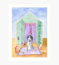 Cocker Spaniel Puppy  Beach Hut Watercolour Art Print