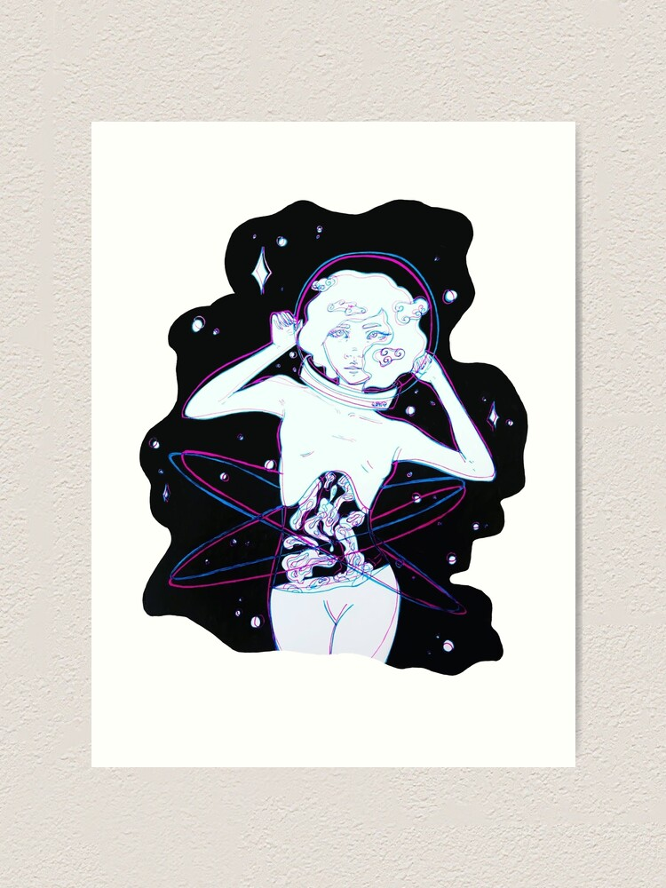 3d Space Girl Art Print By Anklepopart Redbubble