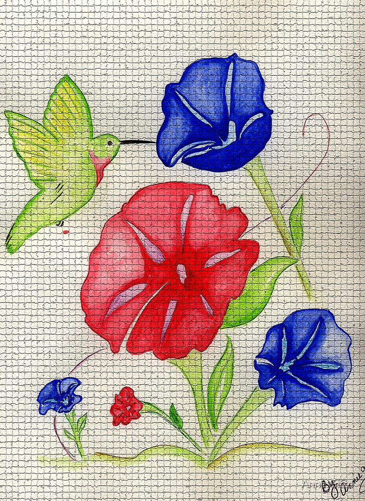 Patriotic Pansies and a Humming Bird by Anne Gitto