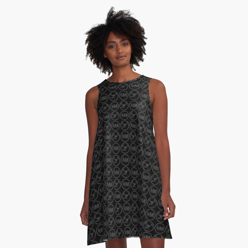 Hollywood Monsters Pattern - DARK GREY A-Line Dress