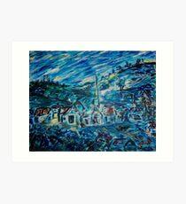 Village in Blue  Art Print