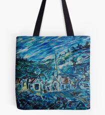 Village in Blue  Tote Bag