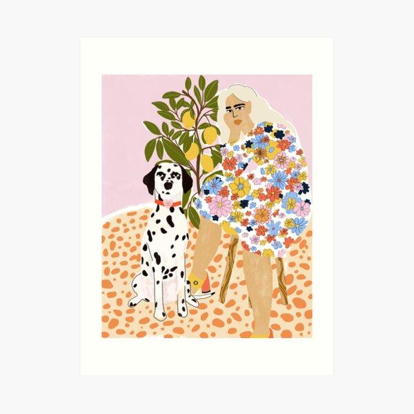 Dame et dalmatien Impression artistique