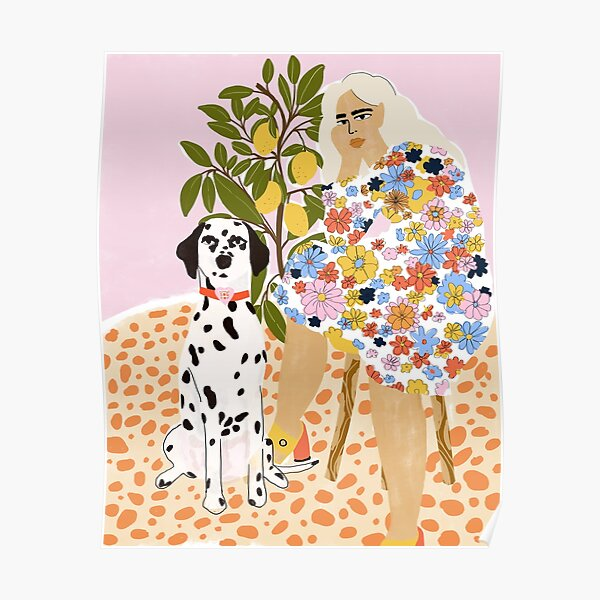 Lady and Dalmatian Poster