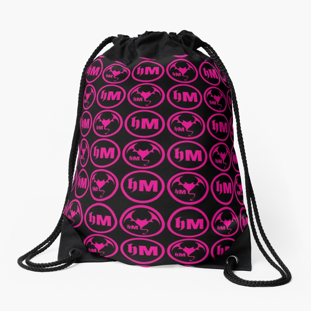 Hollywood Monsters Pattern - PINK Drawstring Bag