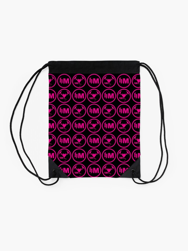 Alternate view of Hollywood Monsters Pattern - PINK Drawstring Bag
