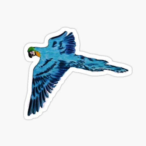 Flying Blue Parrot Sticker