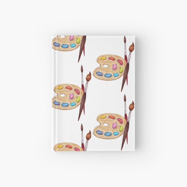 palette with paints and two brushes  Hardcover Journal