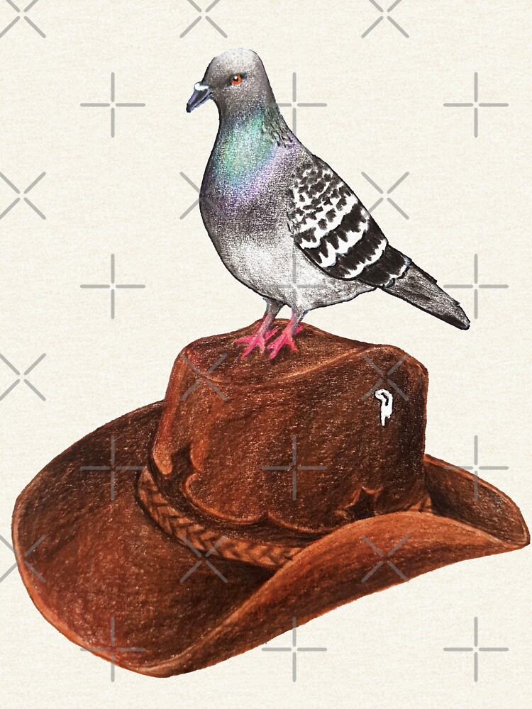 Cluck Norris - pigeon with cowboy hat by EmilyBickell