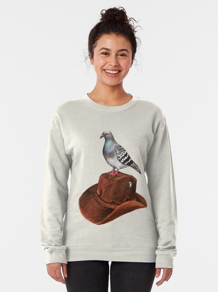 Alternate view of Cluck Norris - pigeon with cowboy hat Pullover Sweatshirt