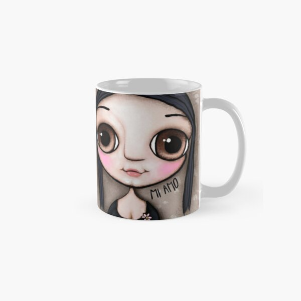 Little child big brown eyes black hair with a message Classic Mug