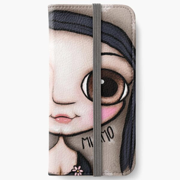 Little child big brown eyes black hair with a message iPhone Wallet