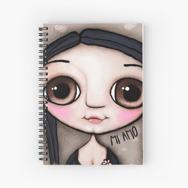 Little child big brown eyes black hair with a message Spiral Notebook